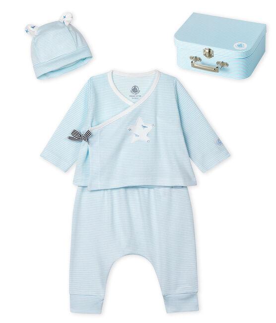 Juego de regalo de bebé de tre piezas de punto verde Amandier / blanco Marshmallow