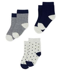 Lote de 3 pares de calcetines para bebé niño gris Beluga / azul Smoking