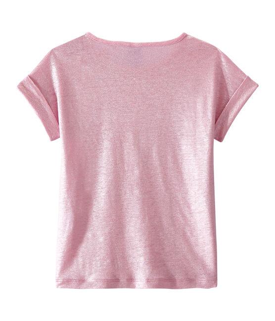 Camiseta para niña rosa Babylone / gris Argent