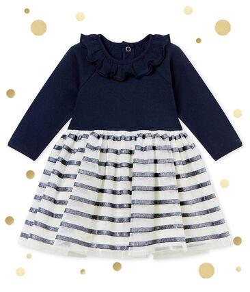 Vestido en tull para bebé niña azul Smoking / amarillo Dore