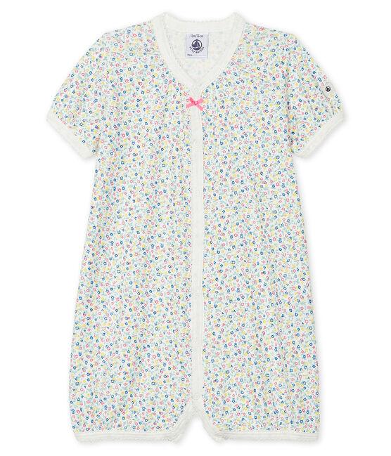 Pelele corto de lino/algodón para bebé de niña blanco Marshmallow / blanco Multico