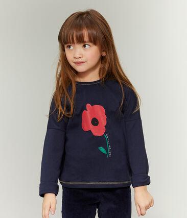 Camiseta serigrafiada para niña azul Smoking