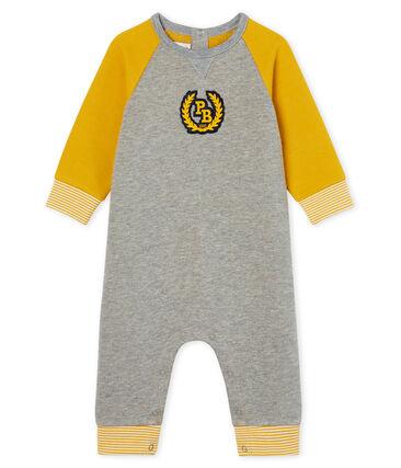Mono largo en muletón para bebé niño gris Subway / amarillo Boudor