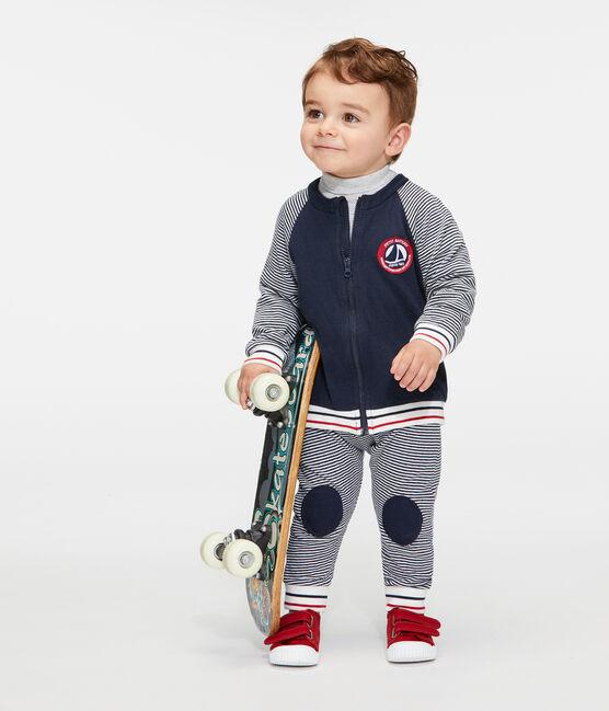 Cárdigan de tela túbica con cremallera para bebé niño azul Smoking / blanco Marshmallow