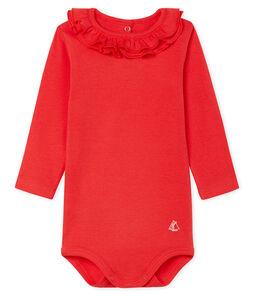 Body de manga larga lisa con cuello isabelino para bebé niña rojo Signal