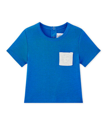 Camiseta bebé niño liso azul Perse