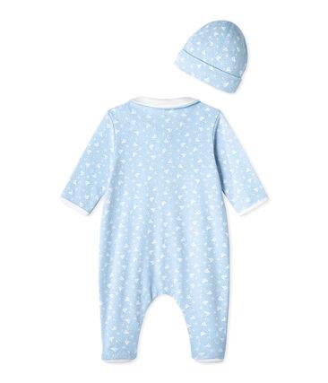 Pijama bebé y gorro de nacimiento azul Toudou / blanco Ecume