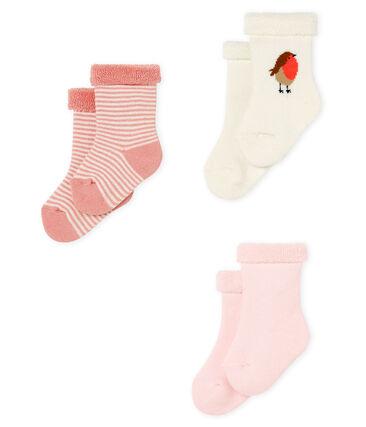 Lote de tres pares de calcetines para bebé de toalla