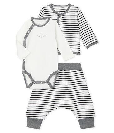 Conjunto de tres piezas para bebé de punto blanco Marshmallow / azul Smoking