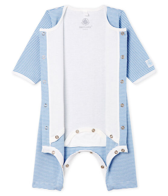 Bodyjama sin pies para bebé niña de punto azul Acier / blanco Marshmallow