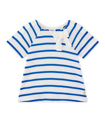 Camiseta bebé niña de manga cortos a rayas blanco Marshmallow / azul Perse