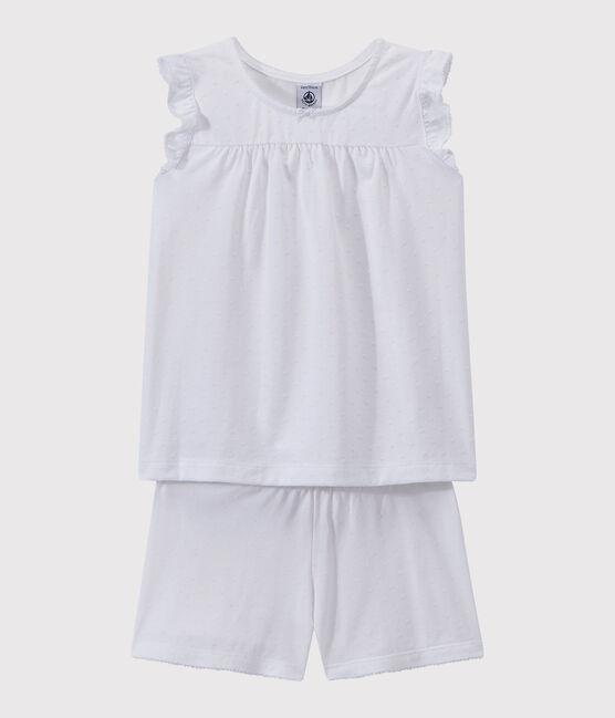 Pijama corto de algodón fino para chica blanco Ecume