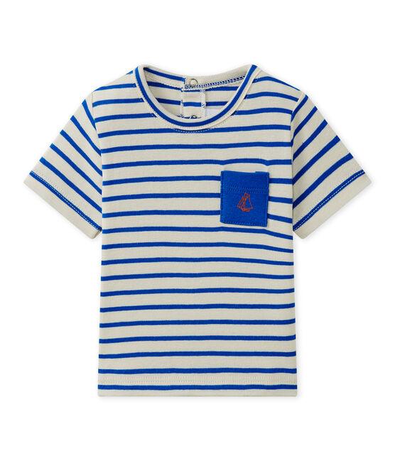 Camiseta a rayas bebé niño de manga corta blanco Feta / azul Perse