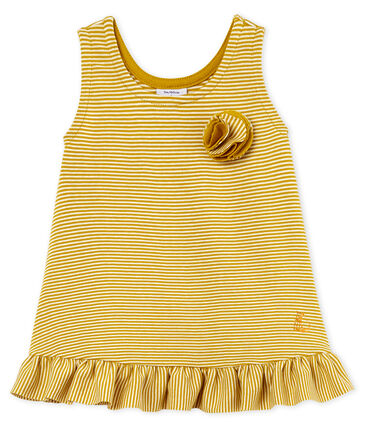 Vestido sin mangas para bebé niña amarillo Bamboo / blanco Marshmallow