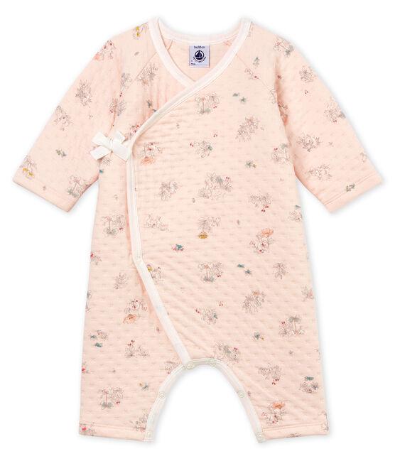 Pelele de tejido túbico para bebé niña rosa Vienne / azul Fontaine