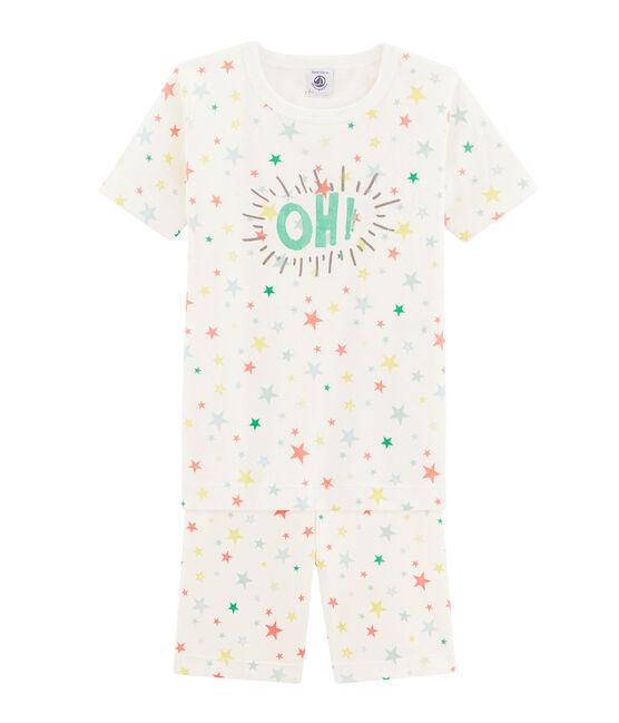 Pijama corto de corte muy ajustado para niño blanco Marshmallow / blanco Multico