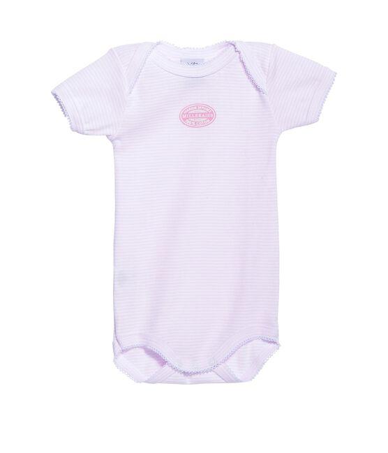 Body de manga corta milrayas para bebé niña rosa Vienne / blanco Ecume