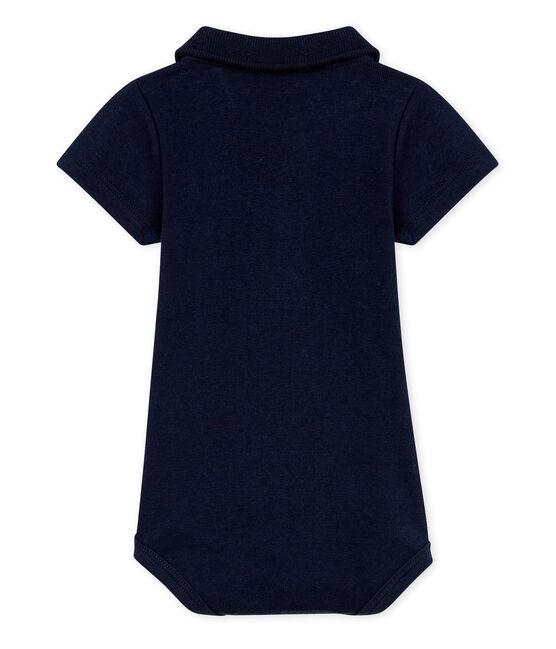 Body manga corta cuello polo liso para bebé niño azul Smoking