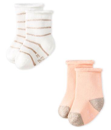 Lote de 2 pares de calcetines ligeros para bebé niña