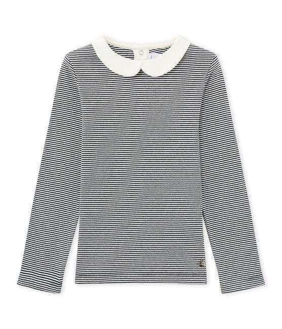 Camiseta de manga larga en milrayas azul Smoking / blanco Marshmallow