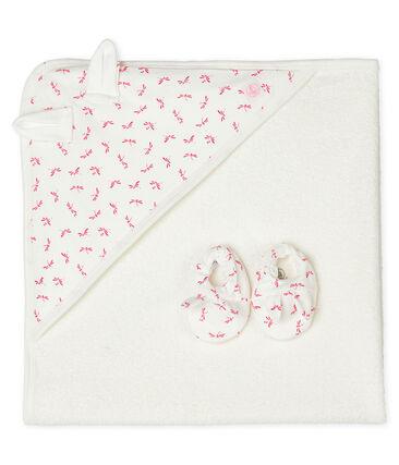 Estuche con toalla cuadrada de baño y patucos para bebé de rizo y punto. blanco Marshmallow / rosa Groseiller