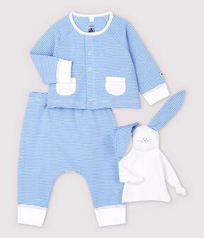 Conjunto de 3 prendas azules de bebé de algodón ecológico azul Edna / blanco Marshmallow