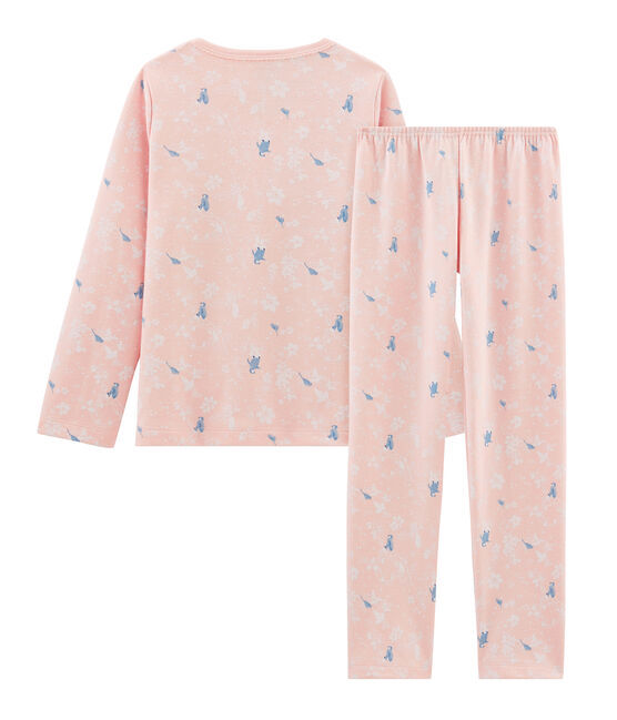 Pijama rosa con estampado de pingüinos para niña y de punto de doble cara. rosa Minois / blanco Multico