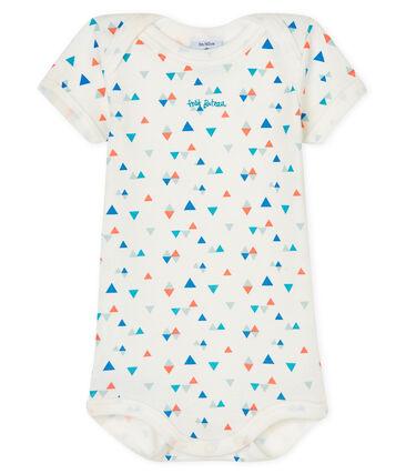 Bodi manga corta para bebé niño blanco Marshmallow / blanco Multico