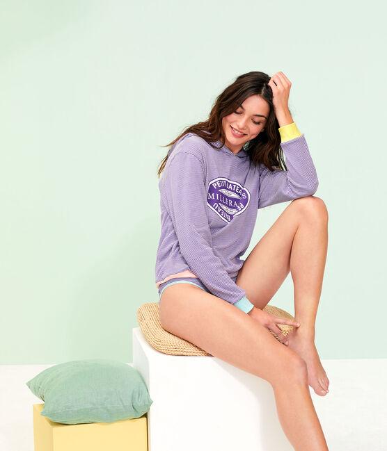 Sudadera con capucha para mujer violeta Real / blanco Marshmallow