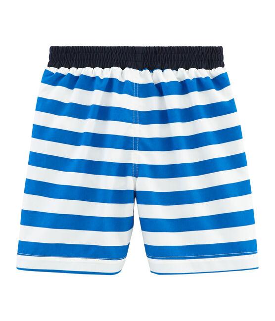 Shorts de playa infantiles para niño azul Riyadh / blanco Marshmallow