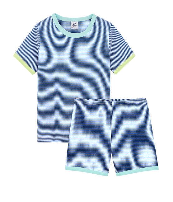 Pijama corto de punto para niño azul Pablito / blanco Marshmallow