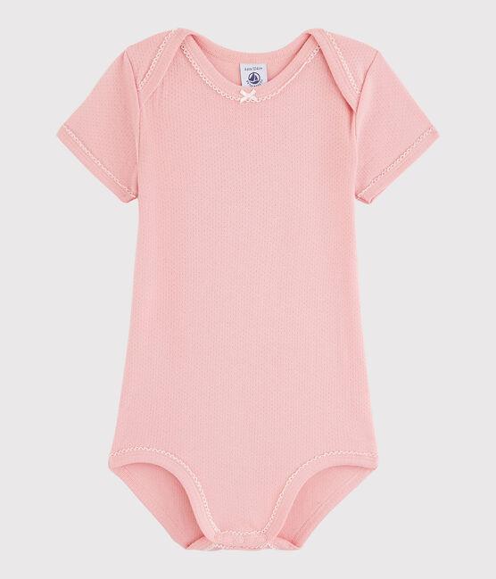 Bodi de manga corta de bebé niña rosa Charme
