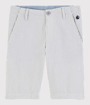 Bermudas de mil rayas de niño gris Gris / blanco Marshmallow