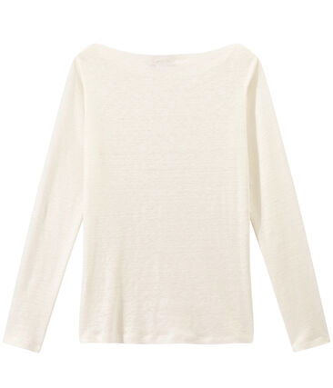 Camiseta de manga larga de lino para mujer blanco Lait / amarillo Or