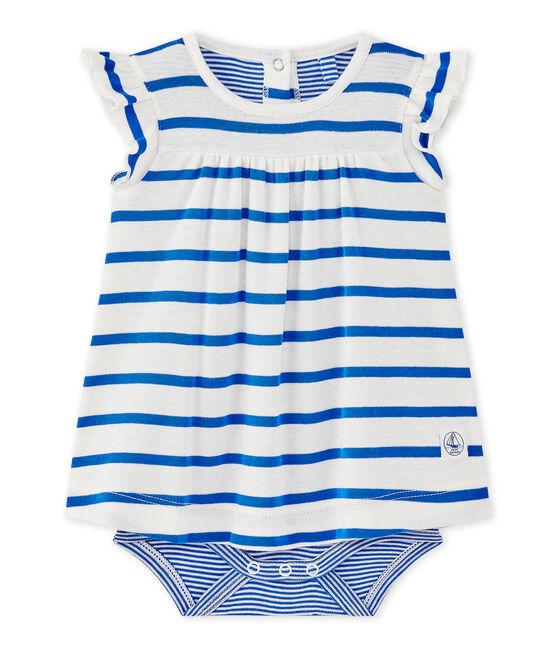Vestido body de bebé niña de rayas blanco Marshmallow / azul Perse