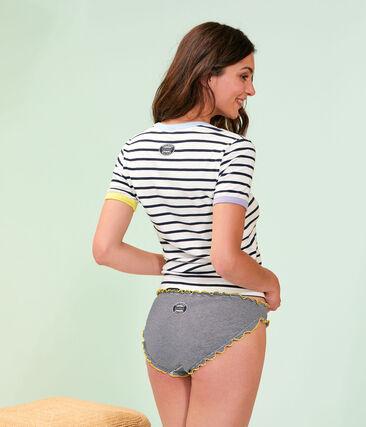Camiseta icónica para mujer blanco Marshmallow / azul Smoking