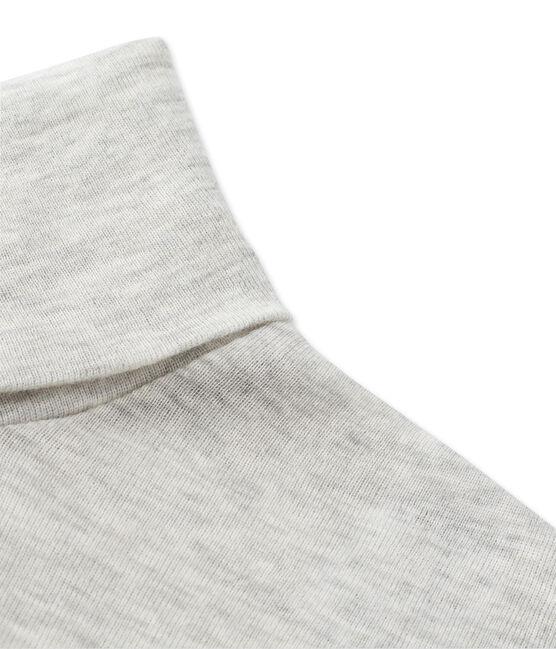 Cuello cisne para mujer en algodón ligero gris Beluga Chine