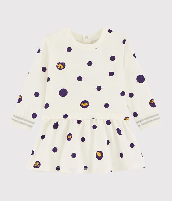 Vestido de manga larga para bebé niña blanco Marshmallow / blanco Multico
