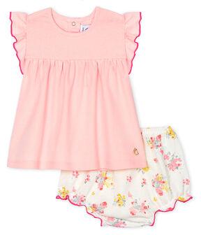 Conjunto de dos piezas para bebé niña rosa Minois / blanco Multico