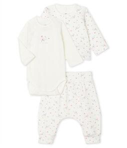 Conjunto de tres piezas para bebé de túbico blanco Marshmallow / blanco Multico