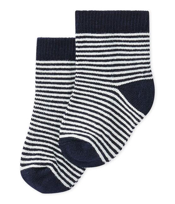 Calcetines milrayas para bebé unisex azul Smoking / beige Coquille