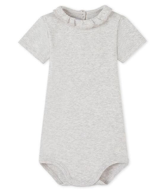 Bodi para bebé niña con collarín gris Beluga
