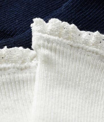 Lote de 2 pares de calcetines con encaje para bebé niña azul Smoking