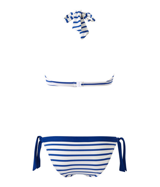 Bañador rayado de 2 piezas para mujer blanco Marshmallow / azul Perse