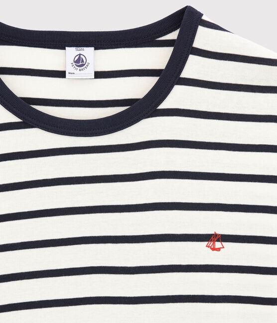 Pijama de rayas marineras de chico de canalé blanco Marshmallow / azul Smoking