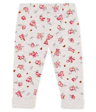 Pantalón de túbico estampado para bebé niña gris Beluga / blanco Multico