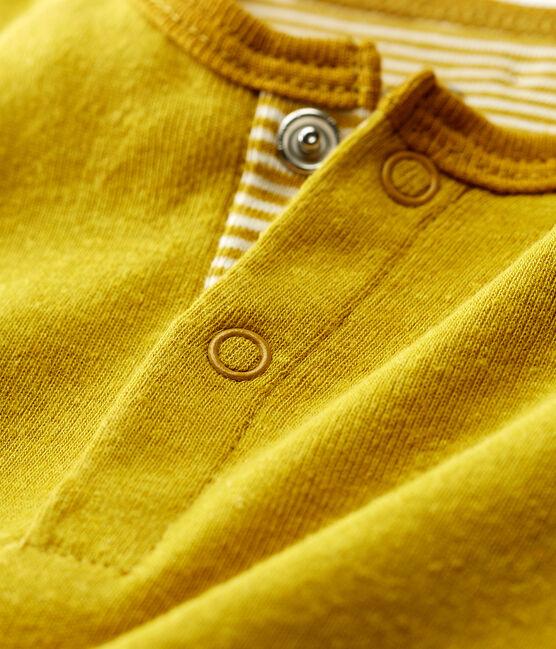 Mono corto de algodón/lino para bebé niño amarillo Bamboo