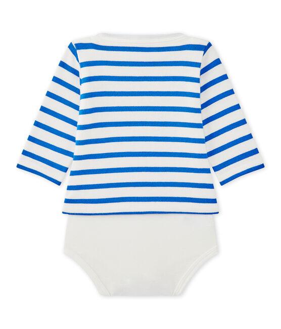 Body marinero de manga larga para bebé blanco Marshmallow / azul Perse
