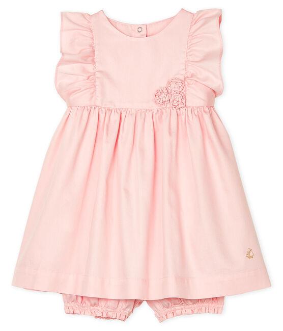 Vestido y braguita «bloomer» de satén para bebé niña MINOIS