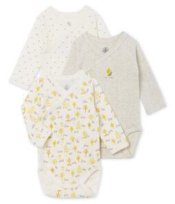 Tres bodis de nacimiento de manga larga para bebé niño lote .